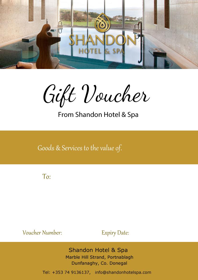 Monetary Gift Voucher Shandon Hotel Spa – Sample Gift Vouchers